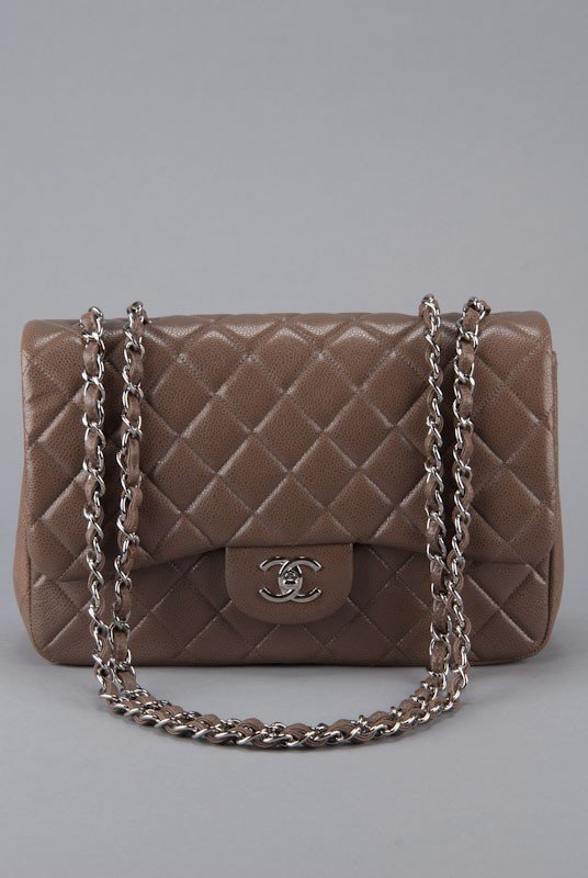 New Chanel Taupe Caviar Classic Jumbo Flap Bag