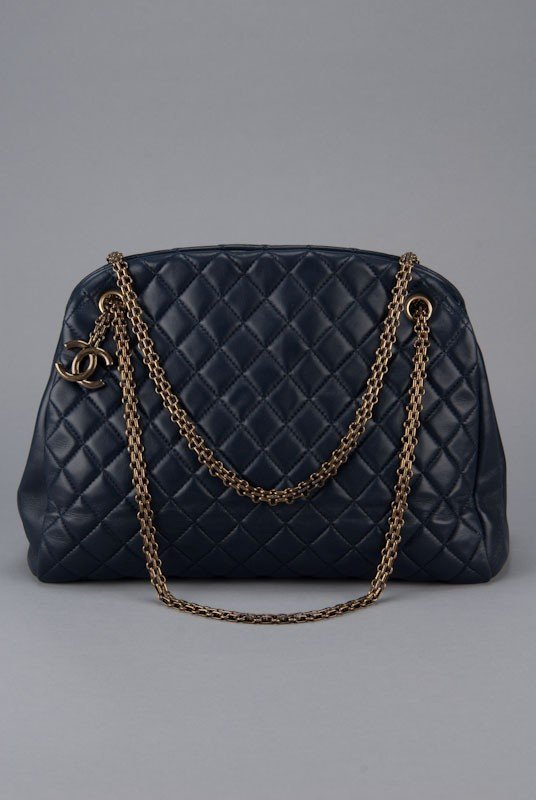 New Chanel Navy Blue Large Quilted Mademoiselle Bag