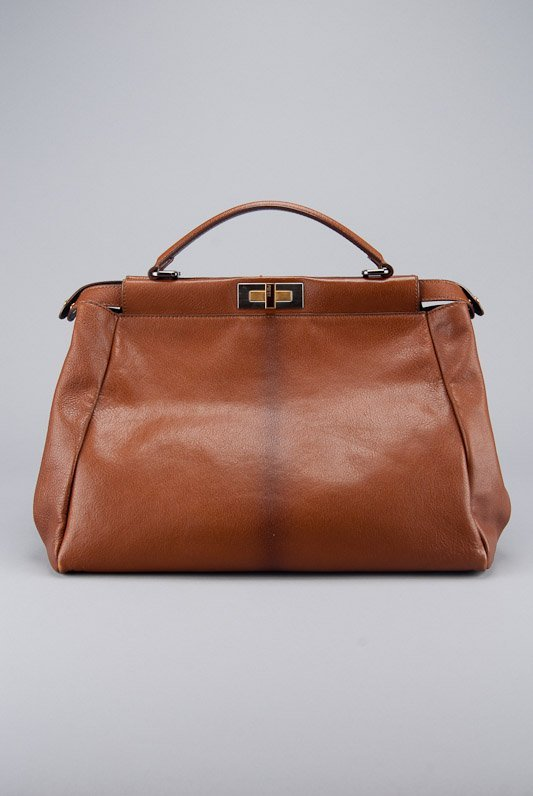 Fendi Brown Ombre Leather Peak-a-Boo Tote Bag