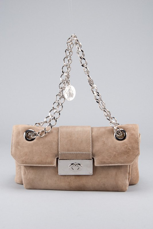 Lanvin Taupe Gray Leather Shoulder Bag