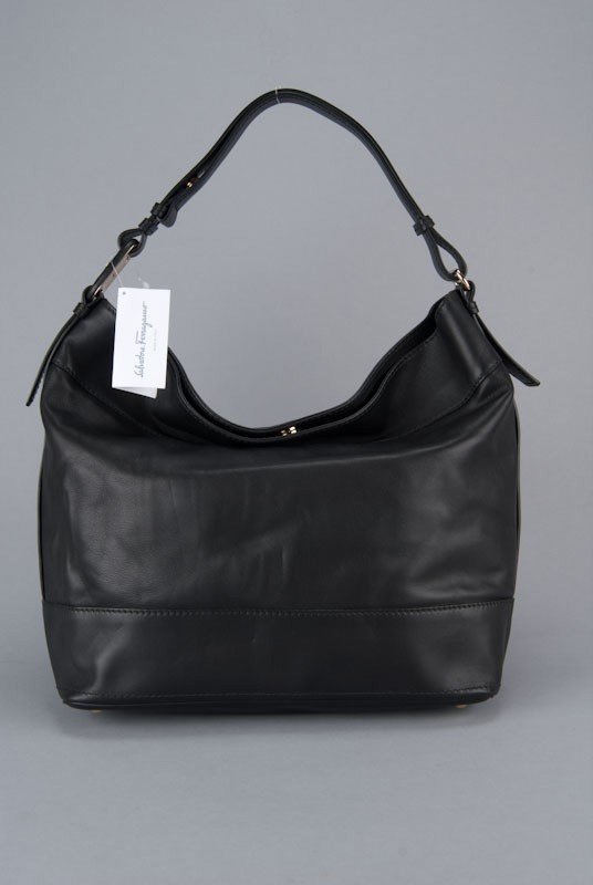 New Salvatore Ferragamo Black Vara Extra Large Bag