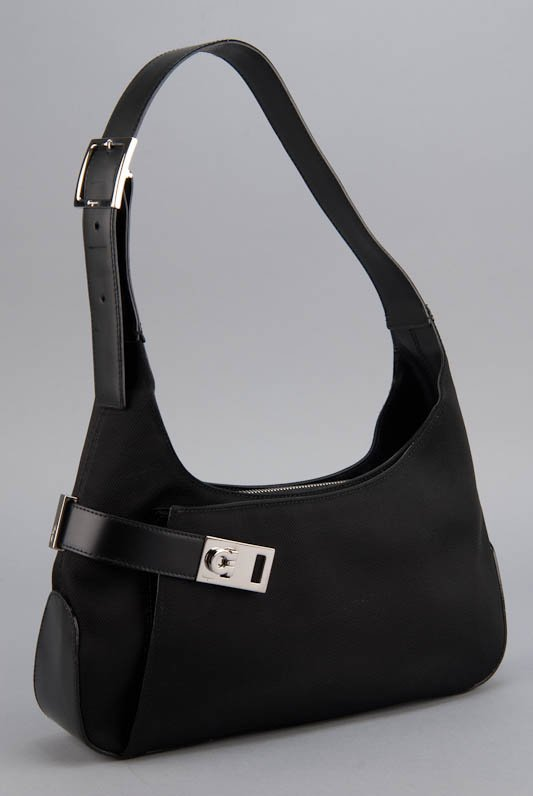 Salvatore Ferragamo Black Hobo Clasp Bag
