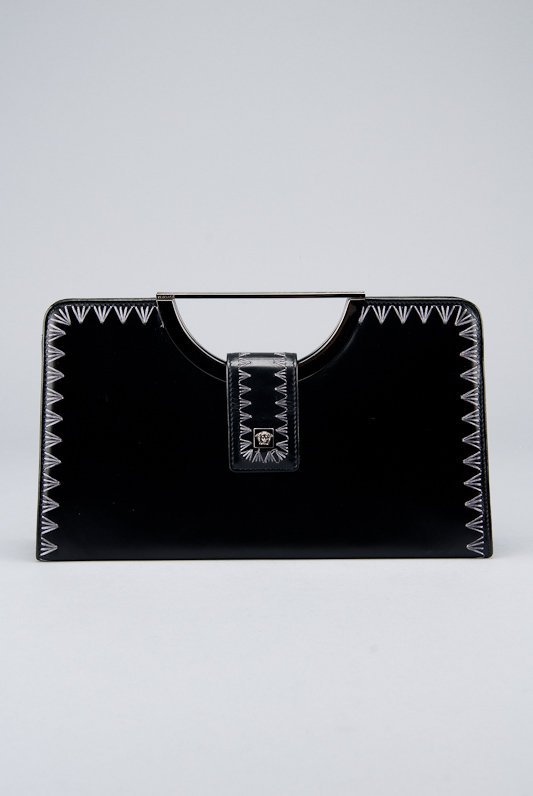 Gianni Versace Black & Silver Leather Handle Clutch