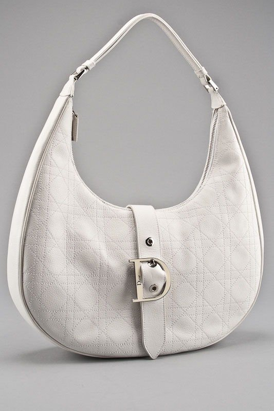 Christian Dior White Leather Cannage Hobo Bag