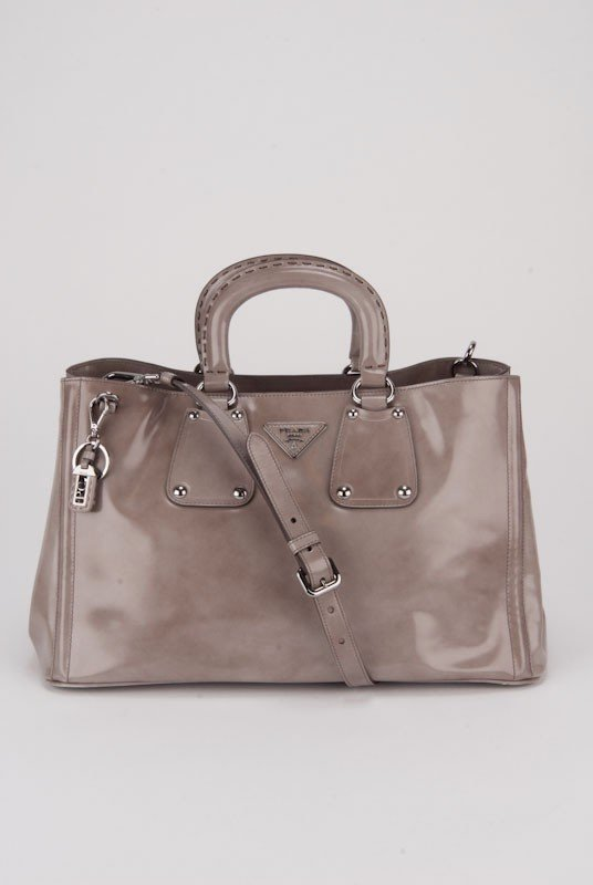 Prada Quartz Glazed Leather Large Tote Bag
