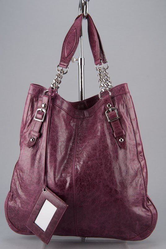 Balenciaga Violet Oversized Chain Link Shopper Bag