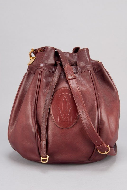 Cartier Vintage Burgundy Signature Leather Bucket Bag