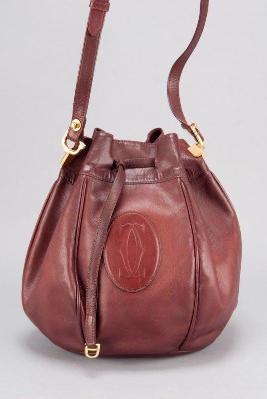 Cartier Vintage Burgundy Signature Leather Bucket Bag - 3