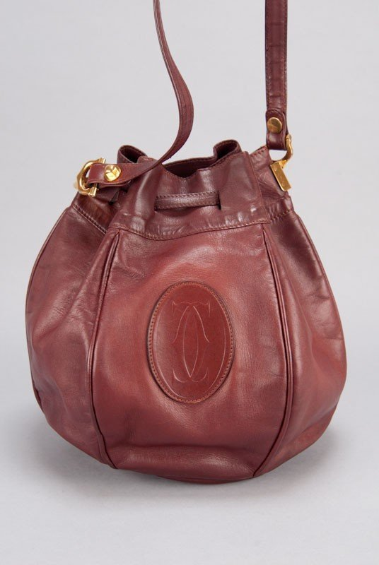 Cartier Vintage Burgundy Signature Leather Bucket Bag - 5