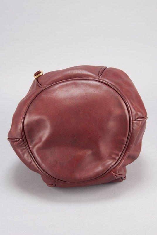 Cartier Vintage Burgundy Signature Leather Bucket Bag - 6
