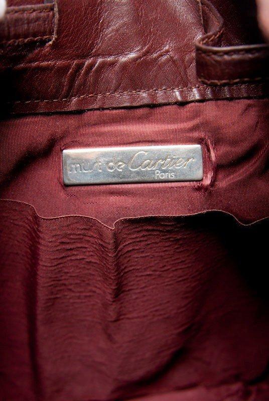 Cartier Vintage Burgundy Signature Leather Bucket Bag - 8