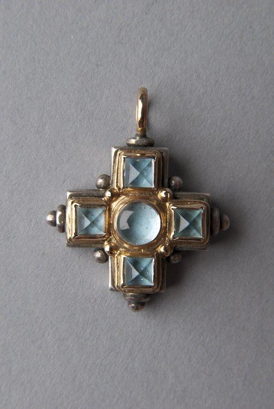 Konstantino 18K Gold & Aquamarine Cross Pendant
