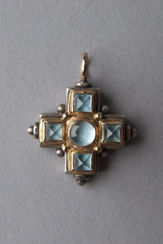 Konstantino 18K Gold & Aquamarine Cross Pendant