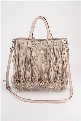 Prada Cervo Fringe Leather Tote Bag