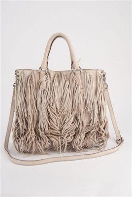 Prada Cervo Fringe Leather Tote Bag : Lot 1007