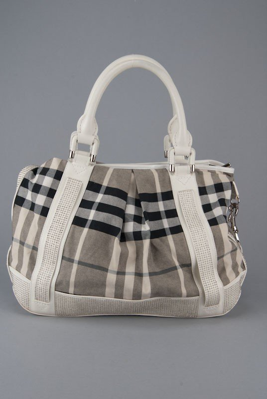 Burberry Prorsum White Leather Studded Knight Bag