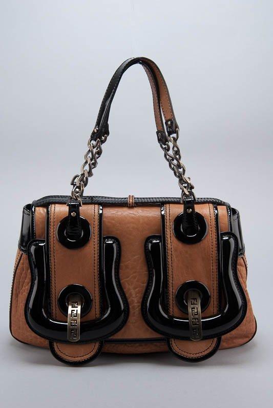 "New Fendi ""B Bag"" Nappa & Patent Leather Bag"