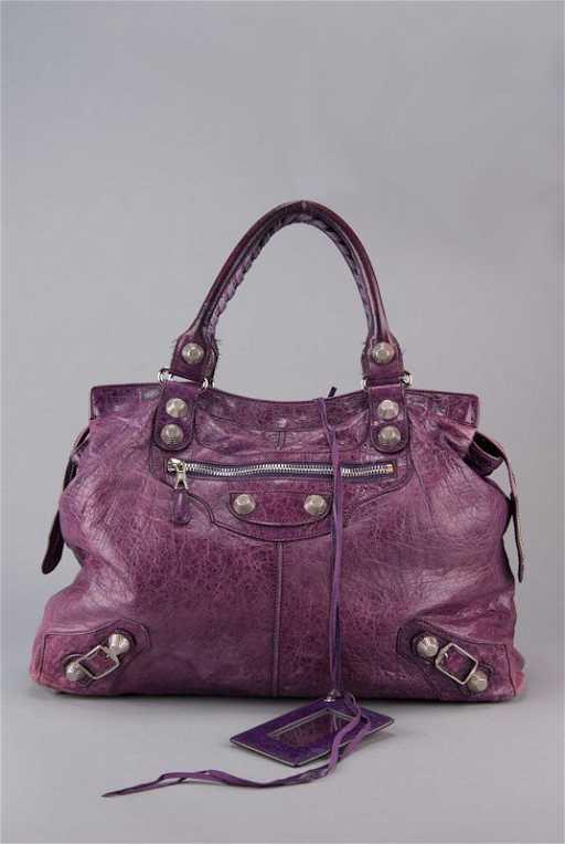d656b9c61f5b Balenciaga Purple Chevre Leather Giant Silver Midday