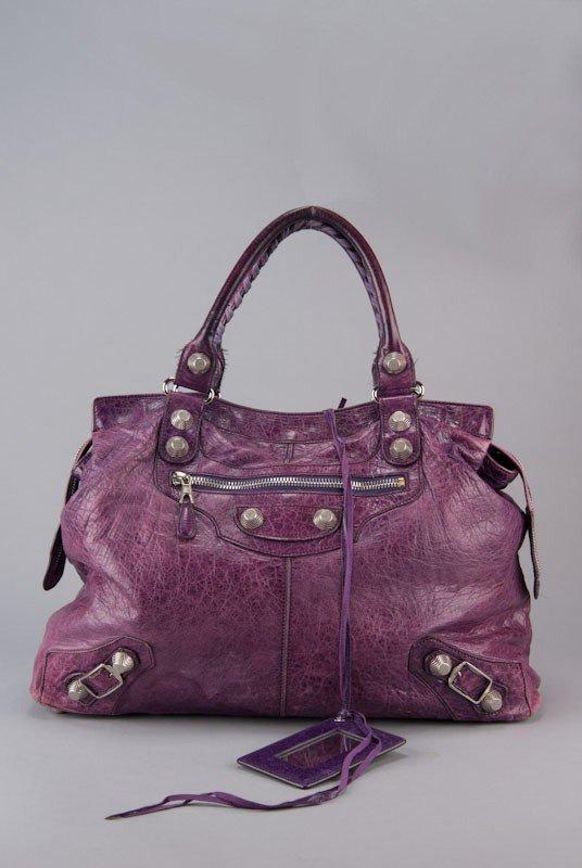Balenciaga Purple Chevre Leather Giant Silver Midday