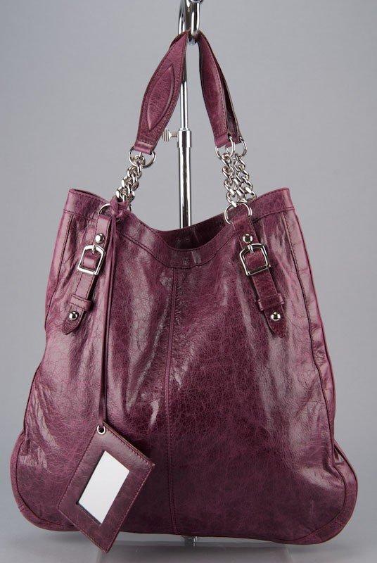 Balenciaga Violet Oversized Chain Link Shopper Bag