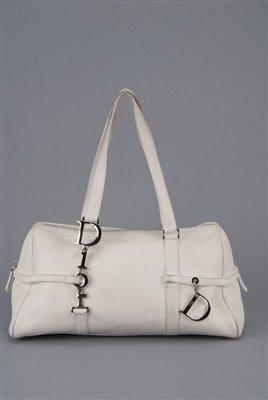 Christian Dior White Leather Satchel Bag