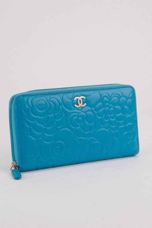 Chanel Turquoise Large Zip Camellia Clutch Wallet