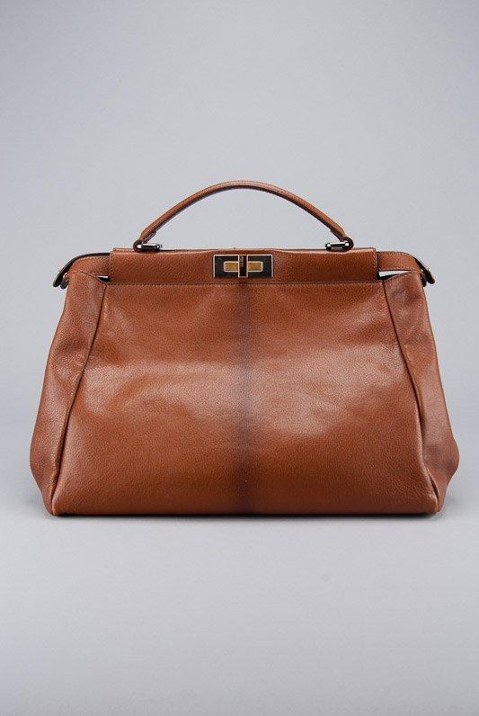 Fendi Brown Ombre Leather Peak-a-Boo Tote Bag