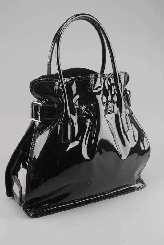 Valentino Black Patent Leather Histoire Frame Tote