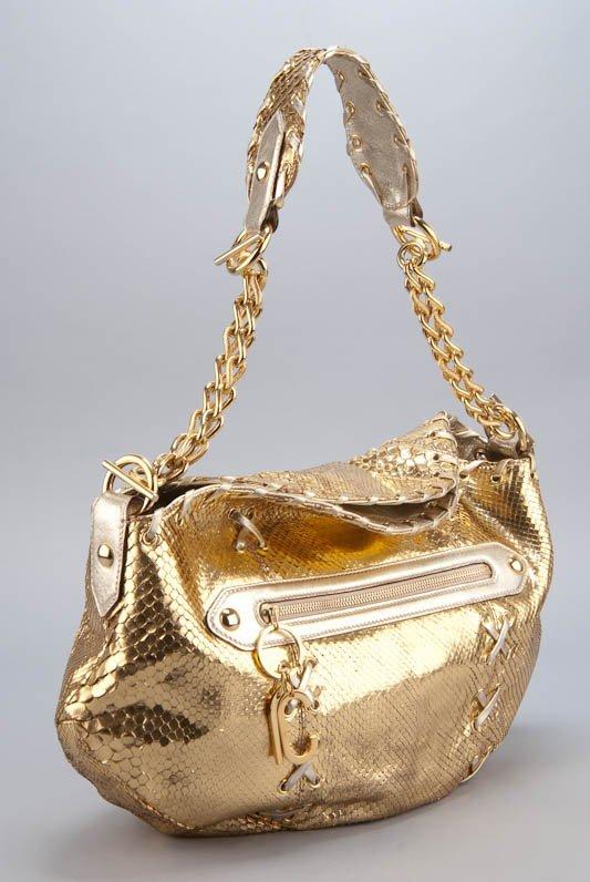 Roberto Cavalli Gold Snakeskin Shoulder Bag