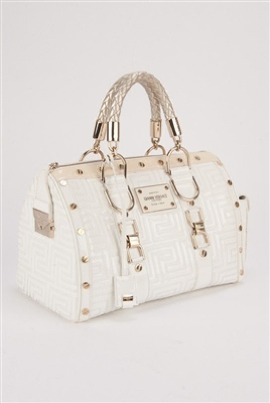 """Gianni Versace Couture White Large """"Snap Out Of It"""" Bag"""