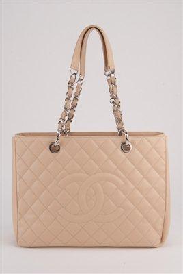 Chanel Nude Caviar Leather Grand Shopper Bag