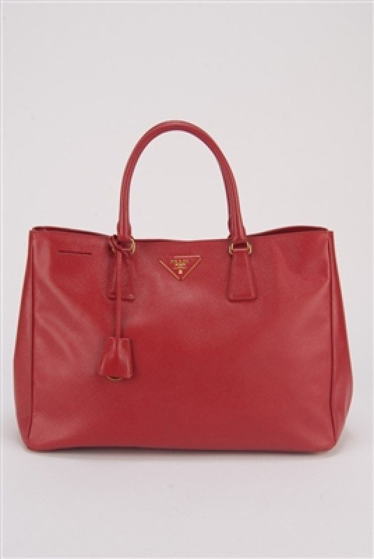 Prada Red Saffiano Large Shopping Lux Tote Bag