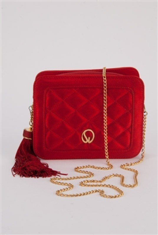 St John Knits Ruby Red Quilted Silk Shoulder Bag