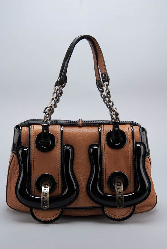"New Fendi ""B Bag"" Nappa & Patent Leather Bag"