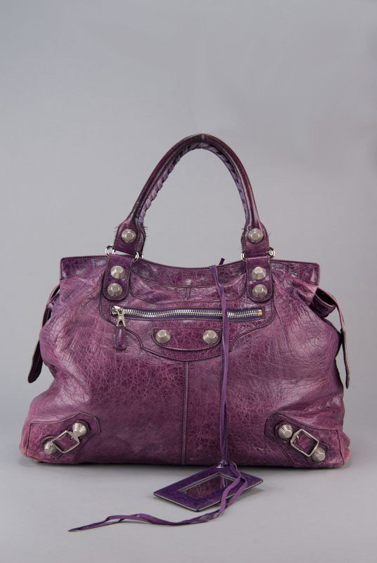 Balenciaga Purple Chevre Leather Giant Silver Midday