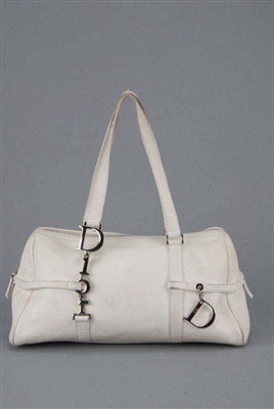 Christian Dior White Leather Satchel Bag