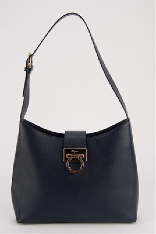 Salvatore Ferragamo Navy Saffiano Leather Bag