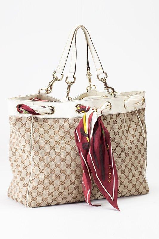 Gucci Tan Monogram Positano Large Scarf Bag