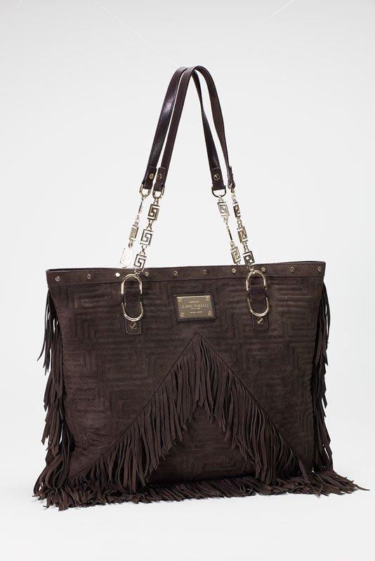 Versace Brown Suede Fringe Tote Bag