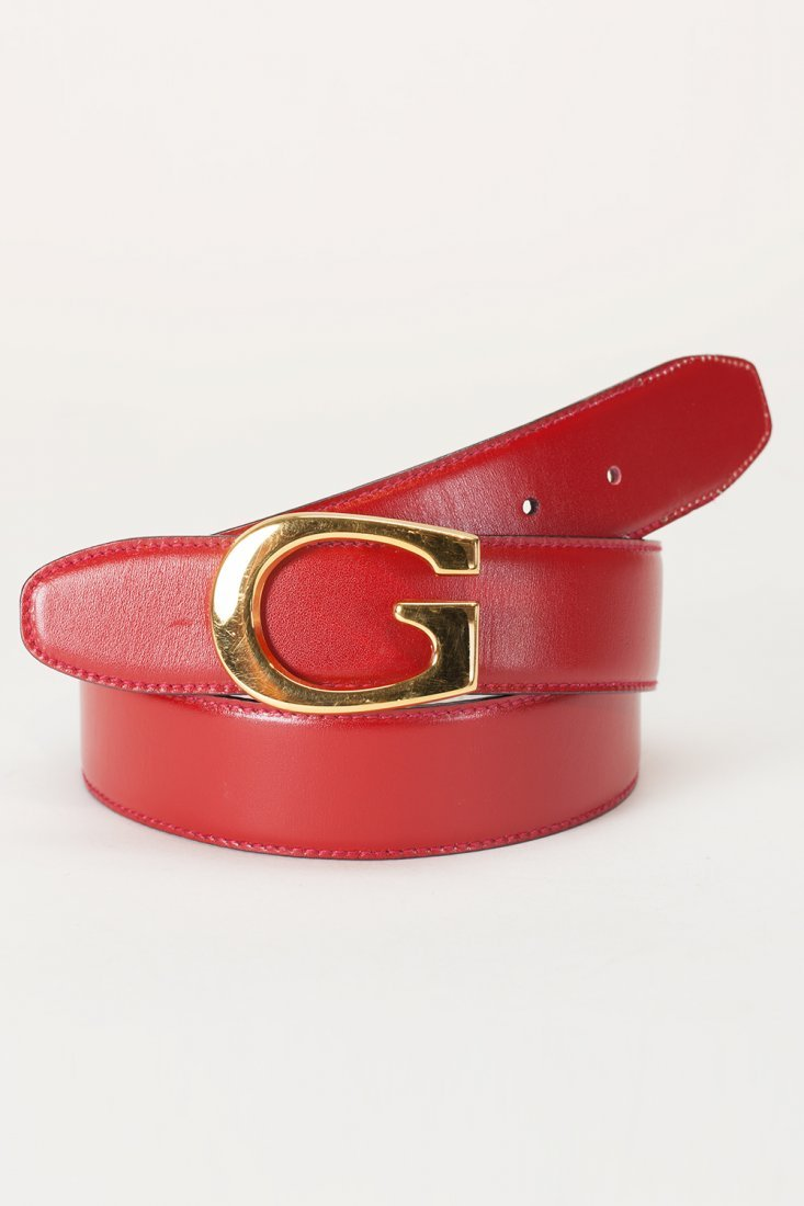 Gucci Signature Buckle Red Leather Belt (34)
