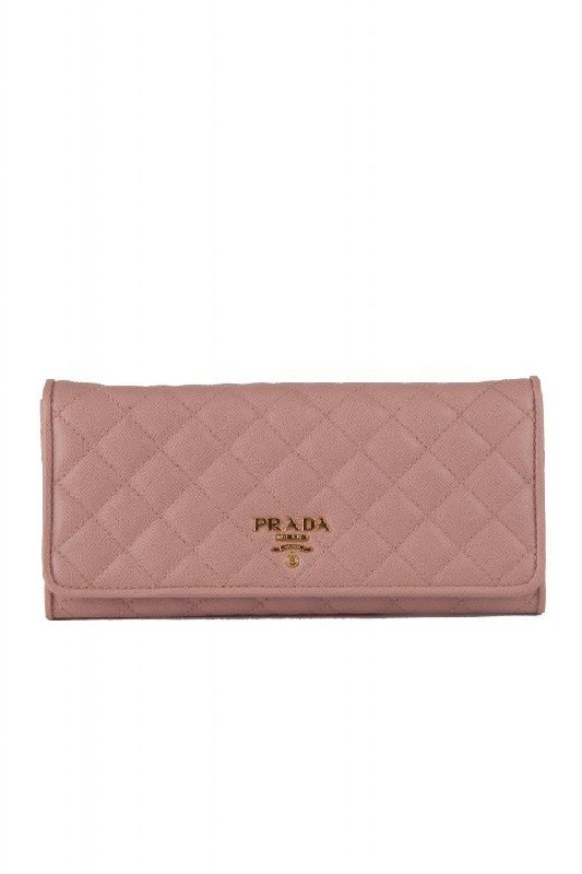 New Prada Pink Puffy Quilted Leather Continental Wallet