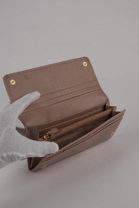 New Prada Nude Saffiano Continental Bow Wallet - 4