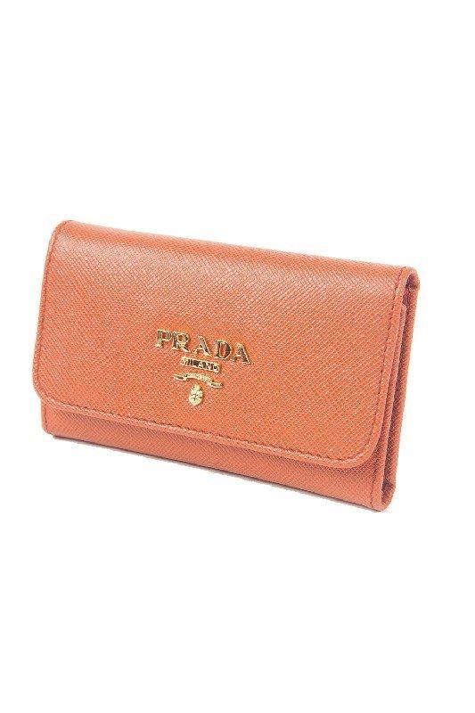 New Prada Orange 6-Key Holder Wallet