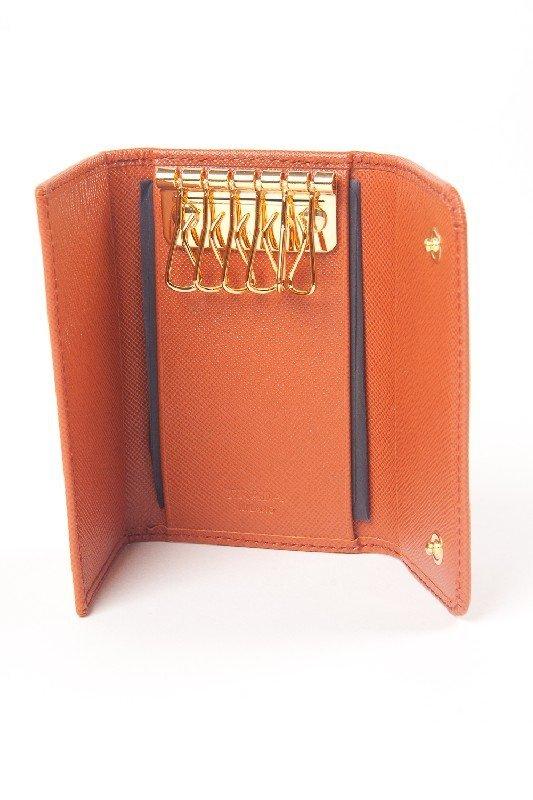 New Prada Orange 6-Key Holder Wallet - 2