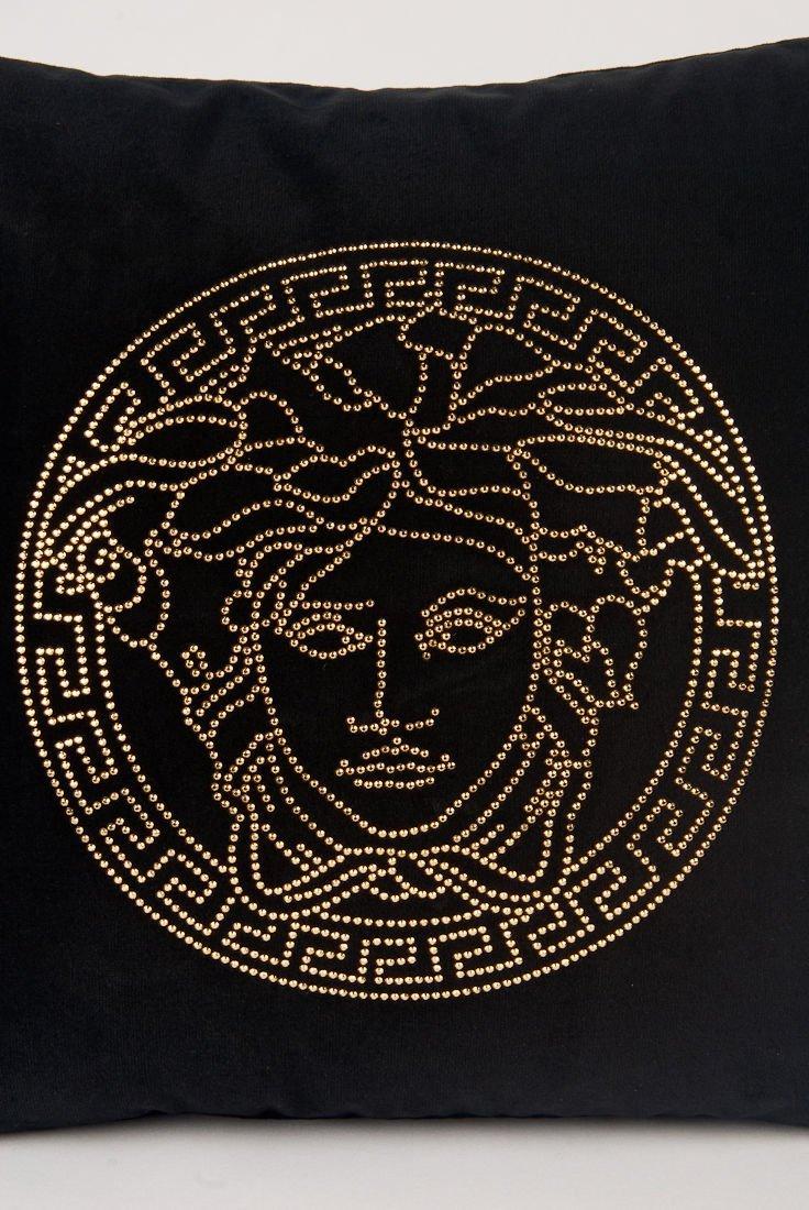 New Versace Collection Velvet Crystal Medusa Pillow - 2