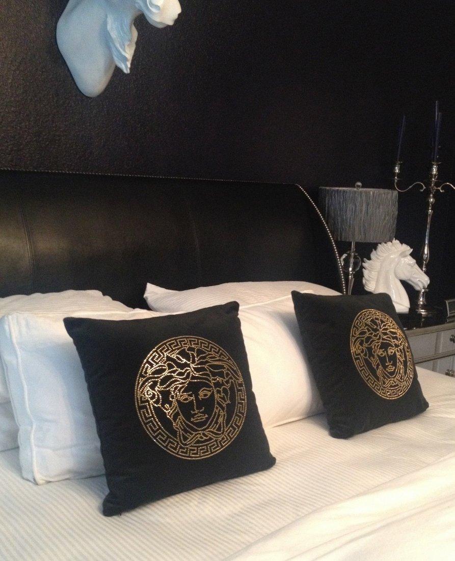 New Versace Collection Velvet Crystal Medusa Pillow - 3