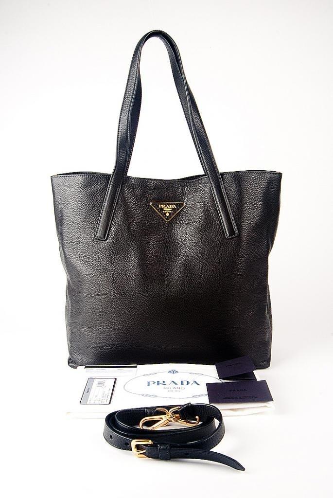 New 2014 Prada Classic Large Black Leather Tote