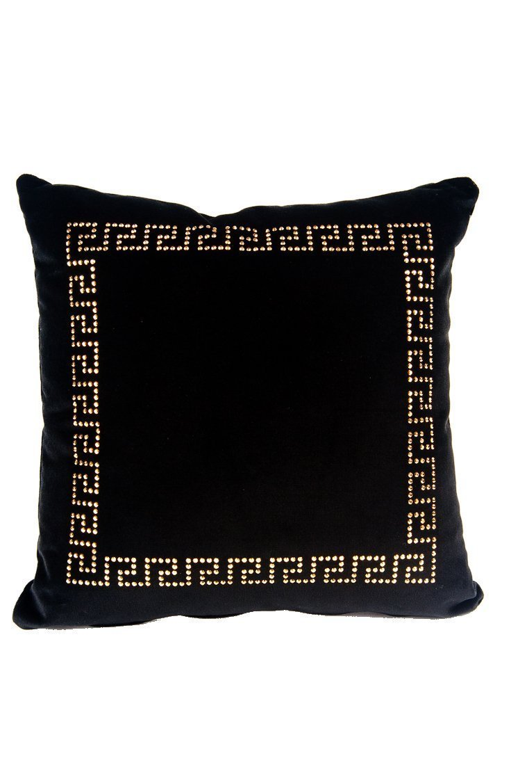 Versace Collection Medusa Gold Studded Velvet Pillow