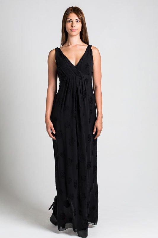 Chanel Black Camelia Pattern Maxi Dress (4/36)