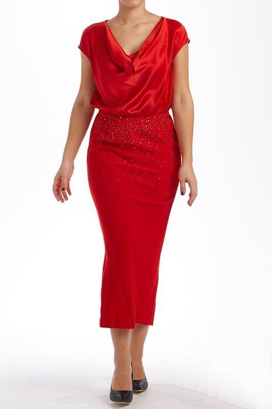 St John Knits Evening Red Silk & Knit Crystal Dress (6)